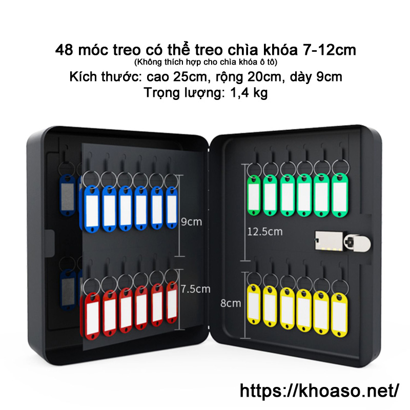 Hộp mật khẩu đựng chìa khóa KB037 treo tường màu đen 3 số